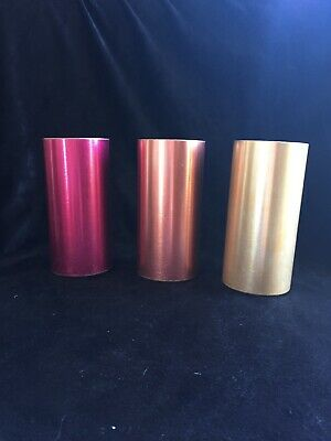 3 Vtg West Bend Aluminum Tumblers Drinking Glasses Cups U.S.A. Pink and gold