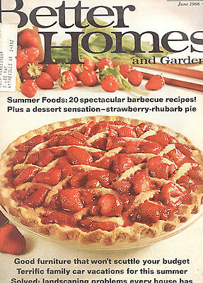 June 1966 Better Homes And Gardens Magazine-Barbecue Recipes-Desserts-Landscapin