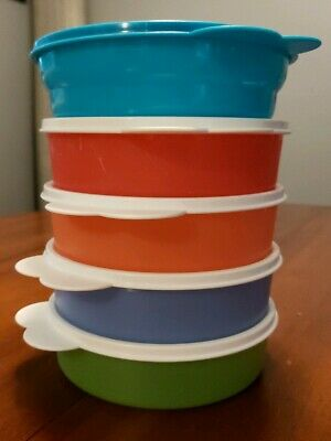 5 - Tupperware Microwave Reheatable Pastel Cereal Bowls W/ Lid Seals Great Used