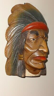 Vintage Xl Native American Indian Chief Solid Wooden Hand Carved Wall Hanging!