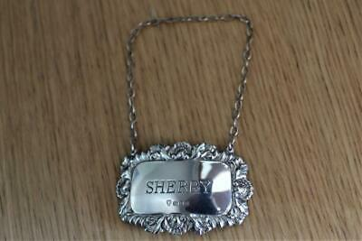 Vintage Solid Silver Hallmarked Decanter Label Sherry  London 1976