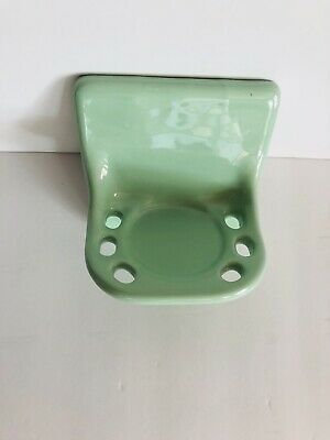 CERAMIC Bathroom Mint Green Toothbrush & Cup Holder Vintage 1960s