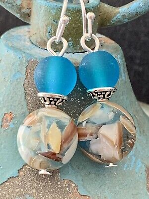 Stunning Silver, Ocean Blue Beach Glass and Mother Of Pearl Earrings.
