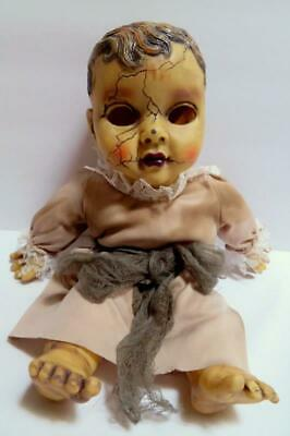 "Creepy Haunted 14"" Gothic Baby Doll Talks Cracked Face Halloween Prop Empty Eyes"