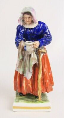 Antique Porcelain Dresden Carl Thieme Germany Old Lady with Jug & Cane Figurine