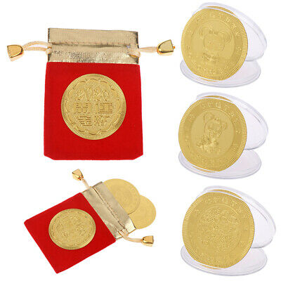 Gold Foil Paper Rat Commemorative Coin Chinese Zodiac Souvenir New Year Gifts