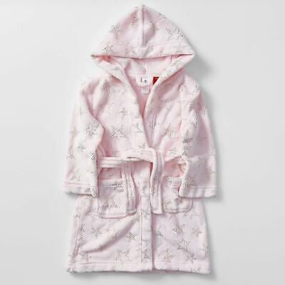 Girls size 5 Pink sparkly stars soft fleece Dressing Gown with hood Target NEW