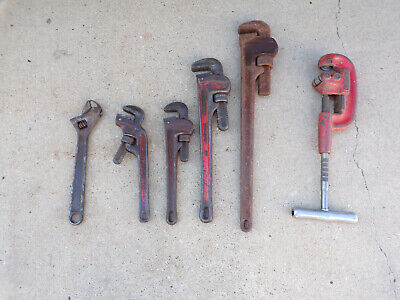 Lot of 6 Ridgid Rigid Ridge Pipe Wrenches Cutter Adjustable Wrench Good Used