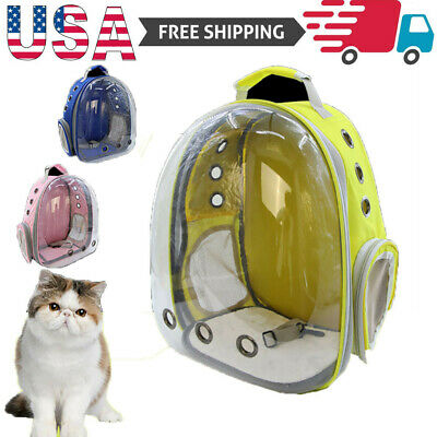 Clear Portable Pet Cat Dog Travel Carrier Backpack Space Capsule Breathable Bag