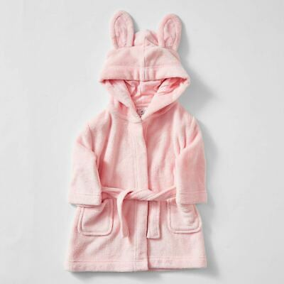 Girls size 2 Pink BUNNY Ears soft fleece Dressing Gown with hood Target NEW