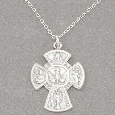 "FOUR WAY CROSS Necklace Catholic Medal Pendant 925 Sterling Silver 24"" chain"