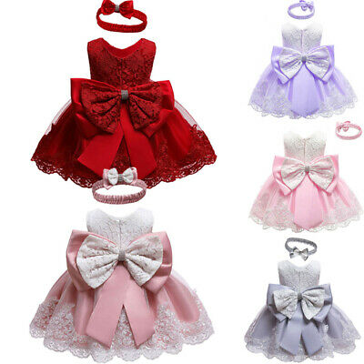 AU Baby Princess Girls Dress Christening Lace Wedding Party Kids Clothes 0-24M