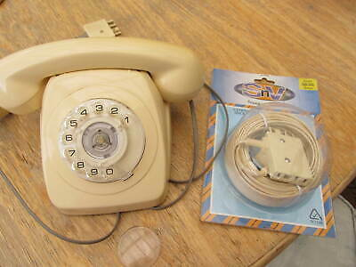 Vintage Dial phone Plug In Corded Extension cord Socket P/U W Footscray