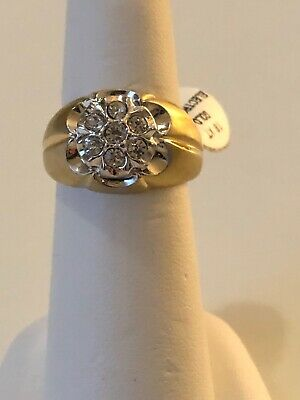 Stunning Mens Ring Size 7 Gold Plated Shiny Stones