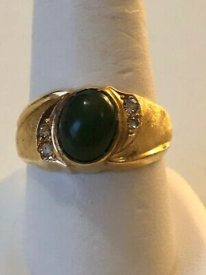 Stunning Mens Ring Size 11 Gold Plated Jade Colored Stones