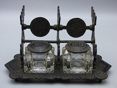 Judd Antique Victorian Eastlake Style Cast Iron / Glass Double Inkwell