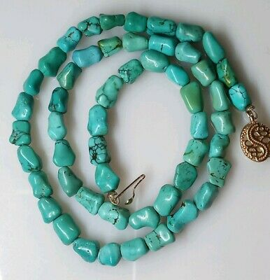 Vintage Chinese Estate Knuckle Nugget Carved Turquoise Beads Necklace Natural
