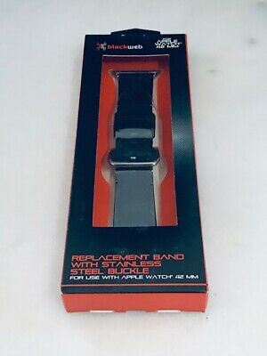 BlackWeb Replacement Apple Watch Band 42mm Black Leather w/Stainless Buckle NIB