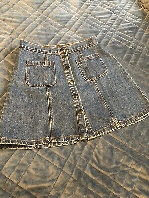 Denim A-line Skirt With Front Pockets And Buttons Size Small Petite