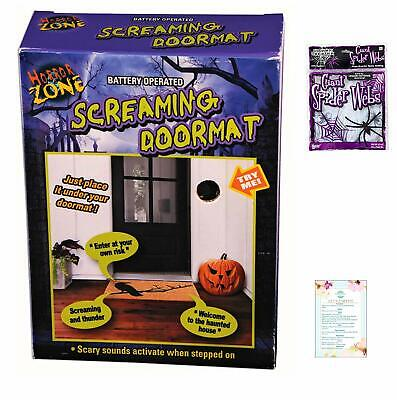 ForumNovelties Scary Sounds Doormat Pad and Glow in The Dark Spiderweb (with Par