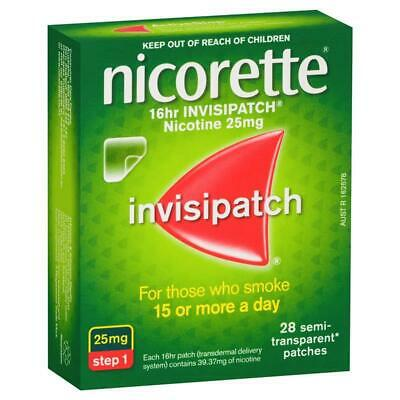 Nicorette Invisipatch 16 HR 25mg Nicotine Patches STEP 1 QUIT SMOKING 28 Patches