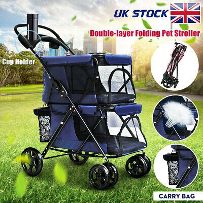 Double-layer Folding Pet Puppy Cat Stroller Pushchair Jogger Carrier for Buggy