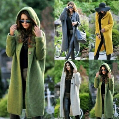 New Women's Cashmere Sweater Cardigans Knit Ladies Stretch Hooded Long Jacket