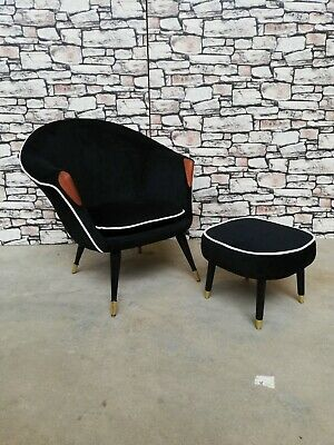 Mid century  Retro Vintage Cocktail  Art deco chair and stool