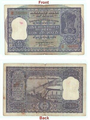 Rare antique Indian 100 Rupees banknote Big Size Hirakud Dam Paper note G5-28 AU