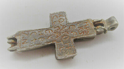 Ancient Byzantine Silver Double Sided Encolopion Cross Pendant Inscriptions