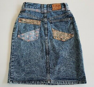 LEE Genuine VINTAGE # 13 Light BlueMini  Denim Cotton Skirt Size 10  Aust. Made