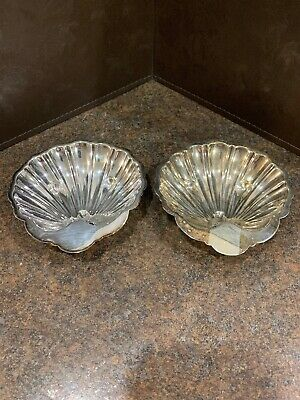 """2 Barker Bros. Silverplate 5"""" Clamshell Dishes Triple Star"""