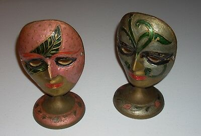 Set of 2 Vintage Brass Mask, Hand Painted Enamel, Swivel Stand