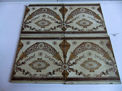 4 Victorian tiles with architectural designs