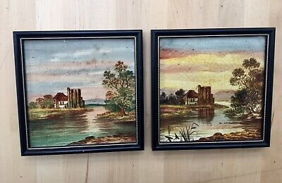 Pair Antique Victorian Hand painted Tiles, Lake Scenes