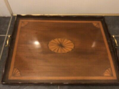 VINTAGE INLAID LARGE WOODEN TRAY Needs Tlc