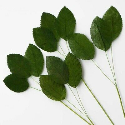 36 Artificial Silk Green Leaves Perfect For Wedding Flowers & Arts & Crafts ETC