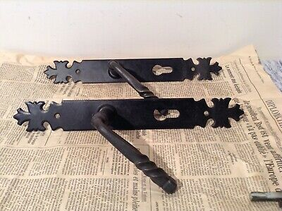 Pair Vintage French Wrought Iron Style Door Handles and Finger Plates