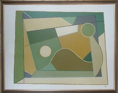 Large Abstract Oil Painting Retro Vintage Modern British Cornish Contemporary