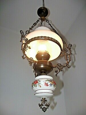 Large French Country Lantern Floral Finial Ornate Frame Glass Shade& Funnel 1197