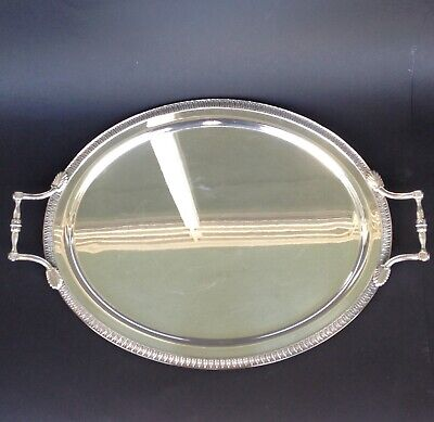 Ercuis French Silver Plated Oval Tray With Handles Model Empire Paris France