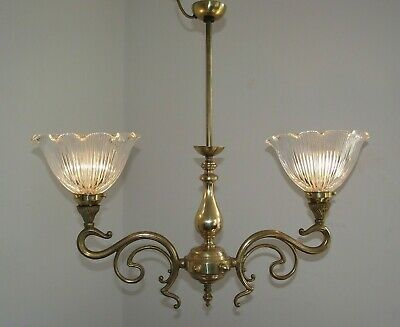 Antique Double Pendant Hanging Ceiling Light Patterned Grove Glass Shades 1465