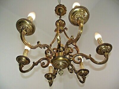 Antique French Chateau Bronze Baroque Style 6 Scrolled Arm Cage Chandelier 1469