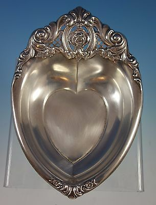 Rose Point by Wallace Sterling Silver Candy Dish Heart Shape #4630 (#1601)