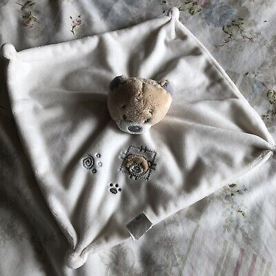 Tiny Treasures White Teddy Bear Plush Comforter Blanket Blankie Soft Toy knotted