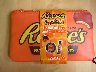 Reese's Peanut Butter Cup Scented Cosmetic/makeup bag gift set +lip balm for Her