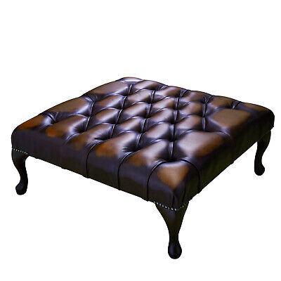 Large Chesterfield Footstool Square Table Ottoman 100% Antique Brown Leather