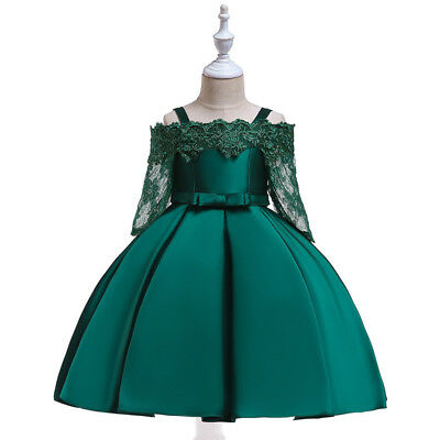 Flower Girls Dress for Kids Satin Lace Cutout Vestidos Princess Party Dress Gown