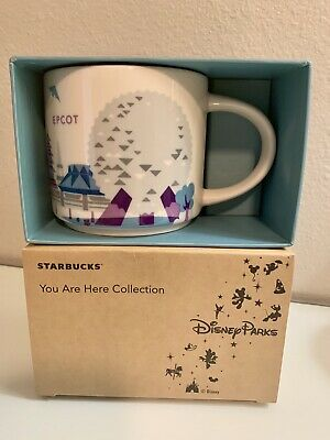 NIB Disney Parks Starbucks Epcot You are here Coffee Mug Cup RETIRED YAH Purple