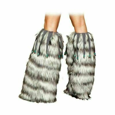 Grey Leg Warmers with Beaded Trim For Women